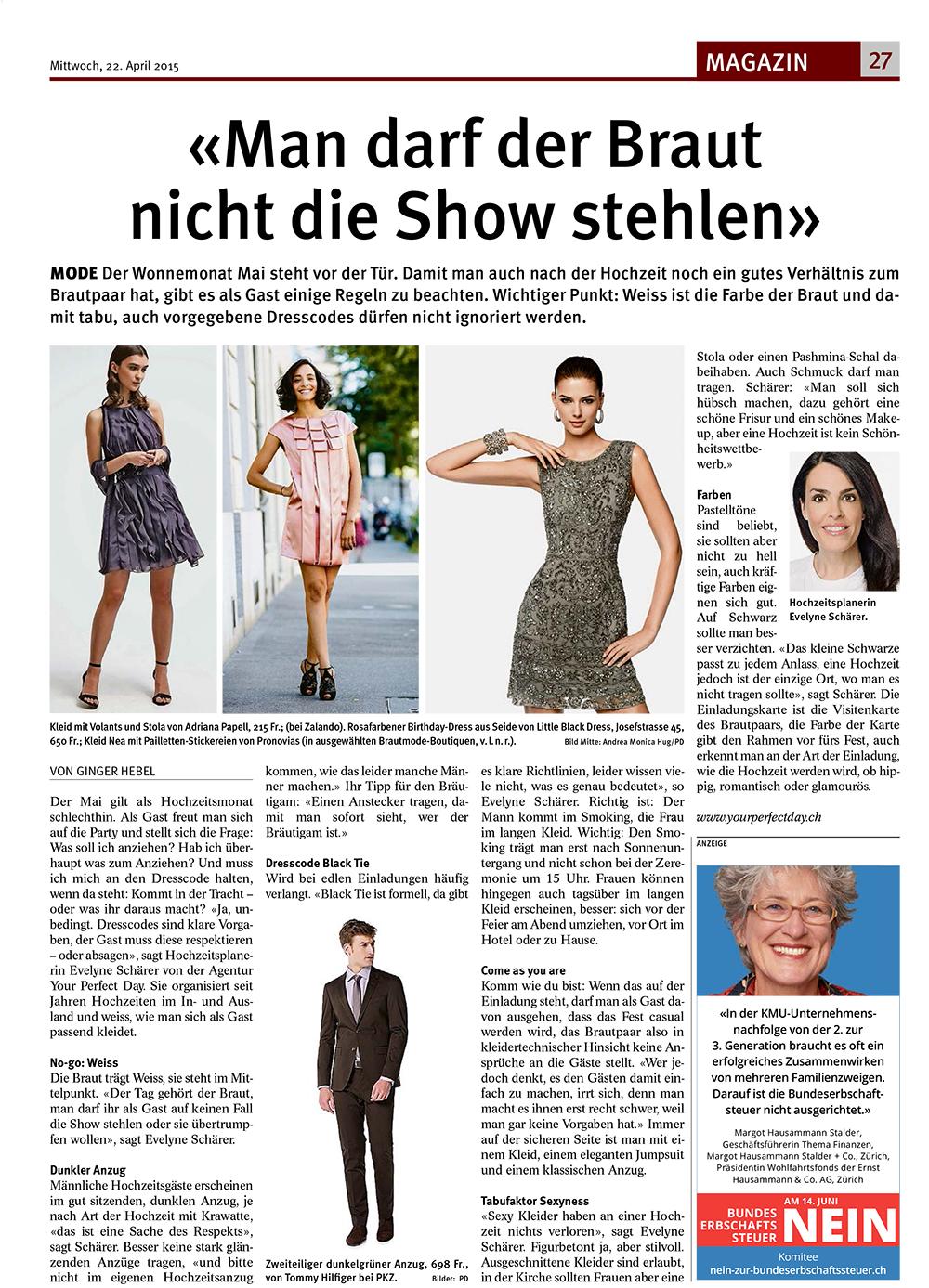 tagblatt der stadt zürich - mode für hochzeitsgäste - your