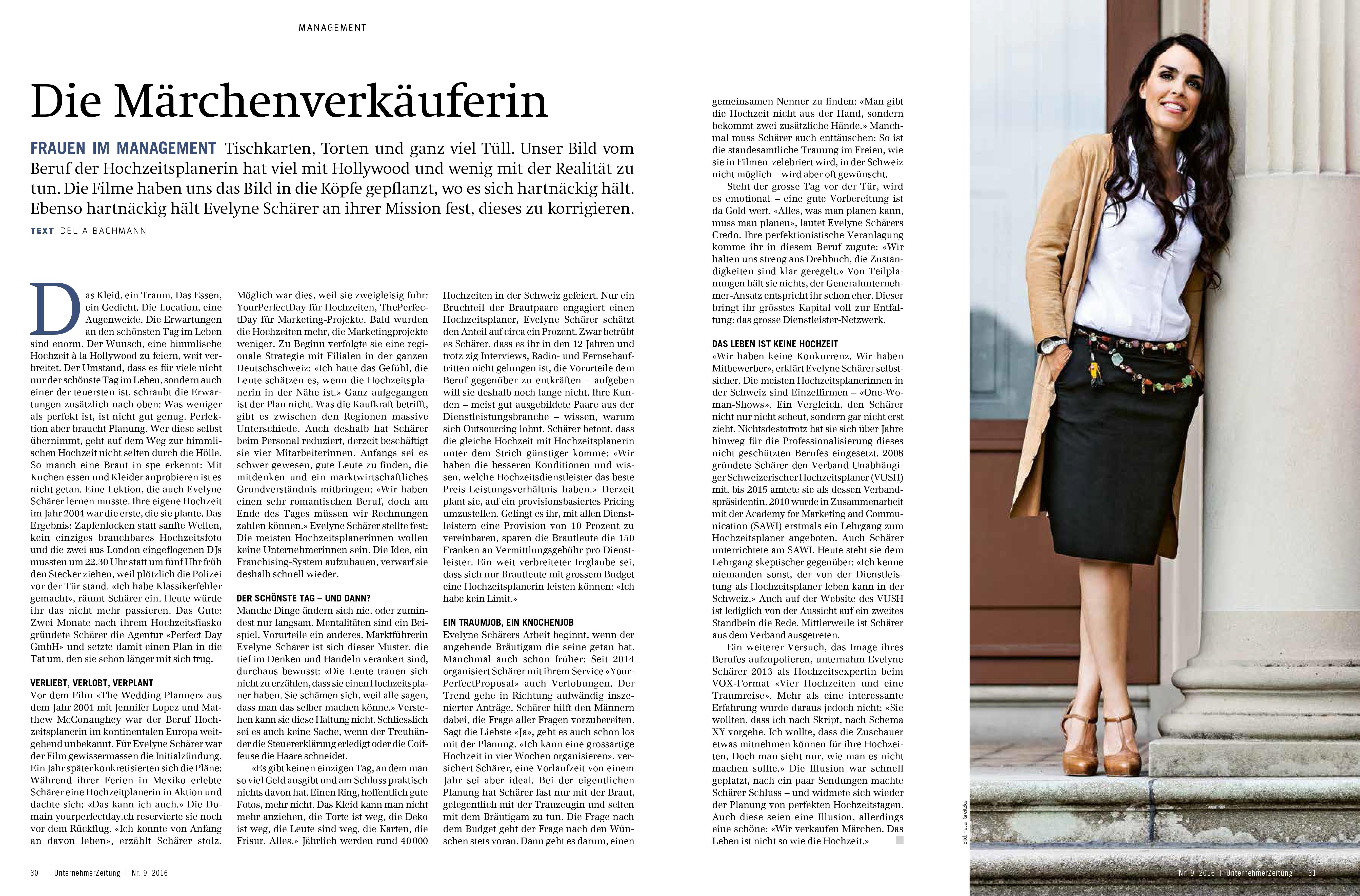 Unternehmer-Zeitung_Maerchenverkaeuferin_Evelyne_Schaerer_Hochzeitsplanerin